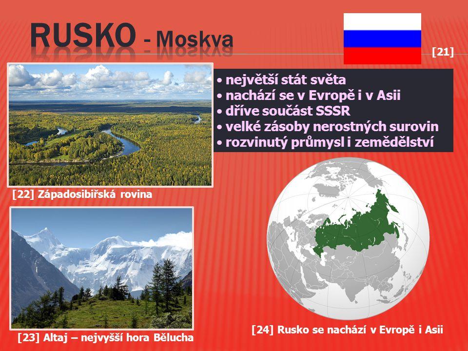 [21] největší stát světa nachází se v Evropě i v Asii dříve součást SSSR velké zásoby nerostných surovin rozvinutý průmysl i zemědělství [23] Altaj –