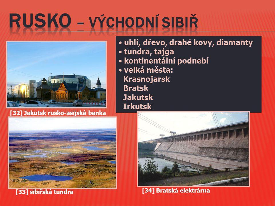 uhlí, dřevo, drahé kovy, diamanty tundra, tajga kontinentální podnebí velká města: Krasnojarsk Bratsk Jakutsk Irkutsk [34] Bratská elektrárna [32] Jak