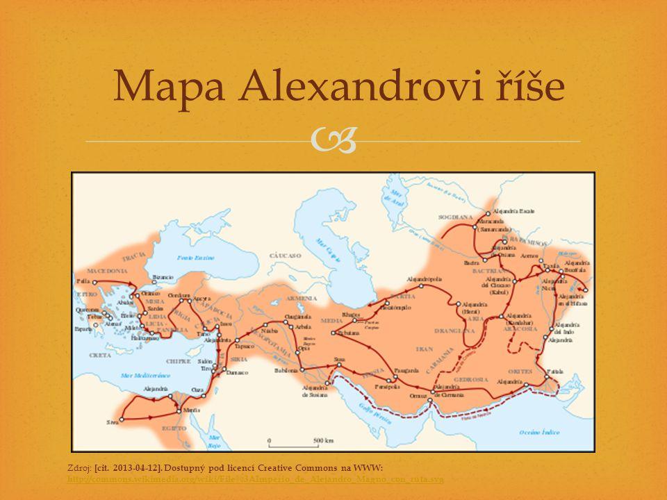  Mapa Alexandrovi říše Zdroj: [cit. 2013-04-12]. Dostupný pod licencí Creative Commons na WWW: http://commons.wikimedia.org/wiki/File%3AImperio_de_Al
