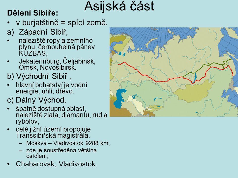 Asijská část Dělení Sibiře: v burjatštině = spící země.