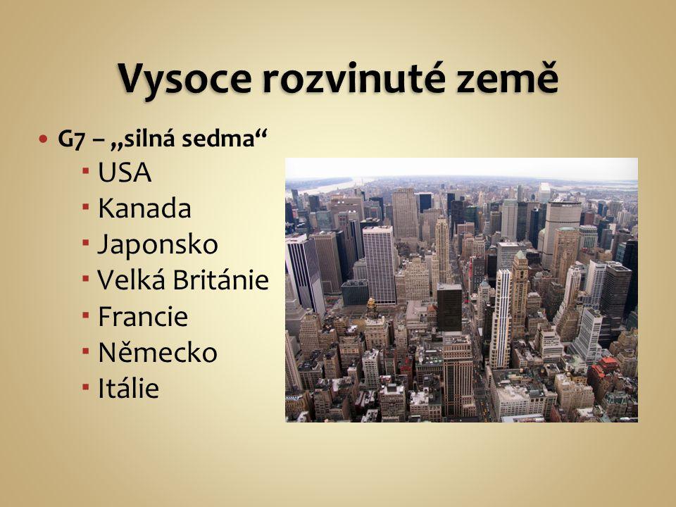 """G7 – """"silná sedma  USA  Kanada  Japonsko  Velká Británie  Francie  Německo  Itálie"""