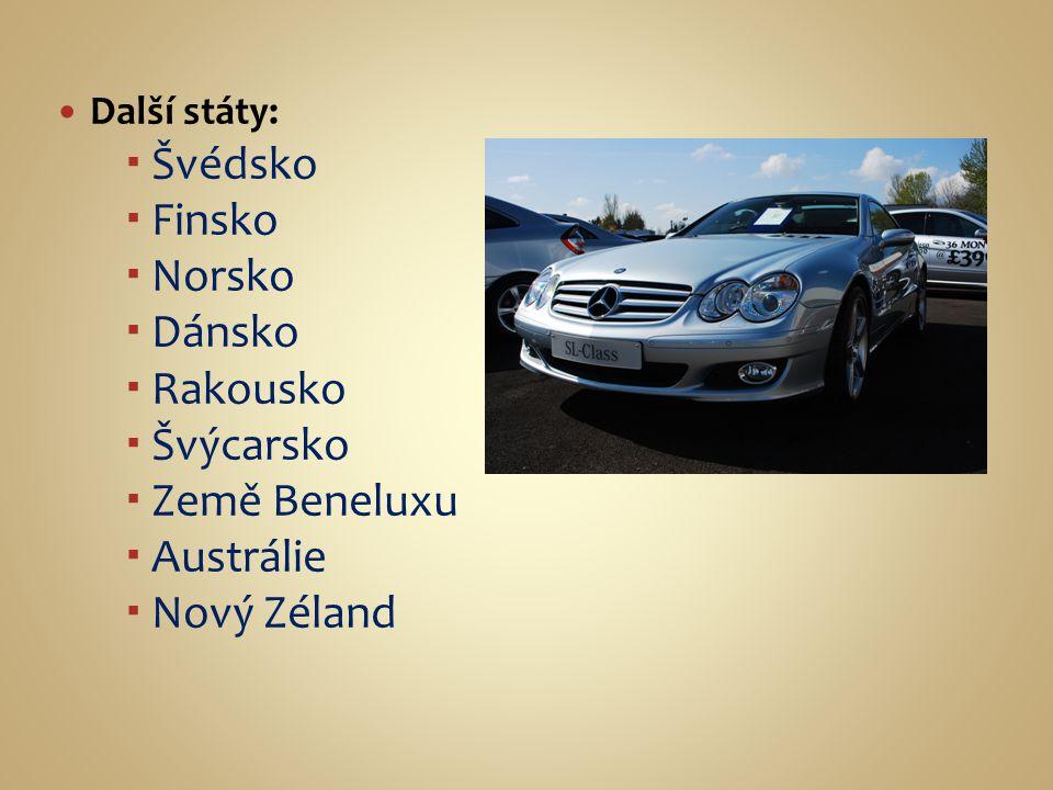 Další státy:  Švédsko  Finsko  Norsko  Dánsko  Rakousko  Švýcarsko  Země Beneluxu  Austrálie  Nový Zéland