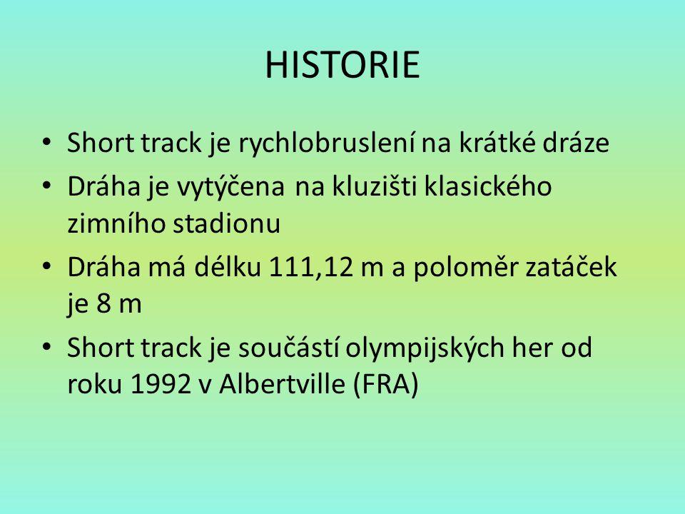 HISTORIE Short track je rychlobruslení na krátké dráze Dráha je vytýčena na kluzišti klasického zimního stadionu Dráha má délku 111,12 m a poloměr zat