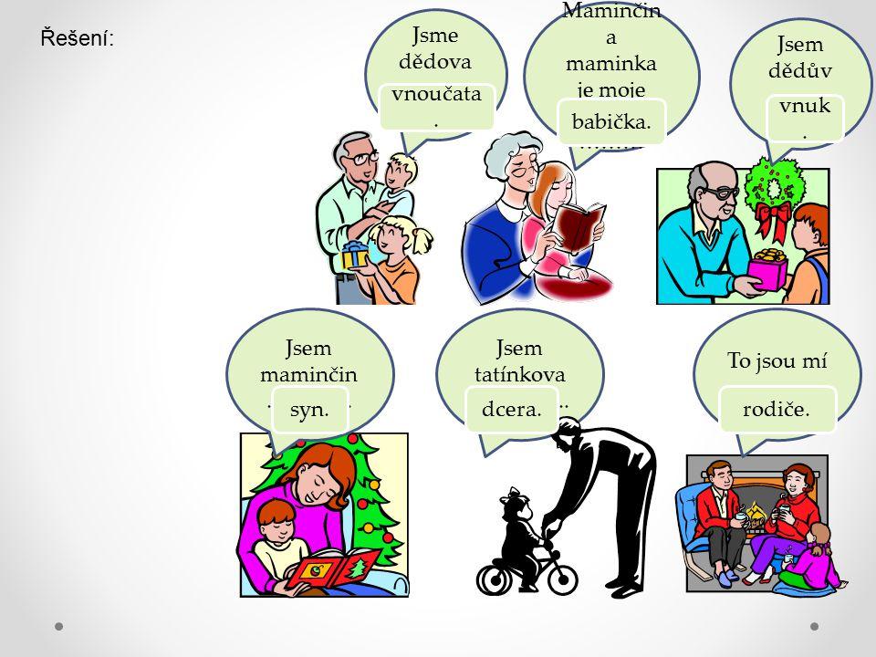 Jsme dědova ……… …..Maminčin a maminka je moje ………… ……… Jsem dědův ……… …..