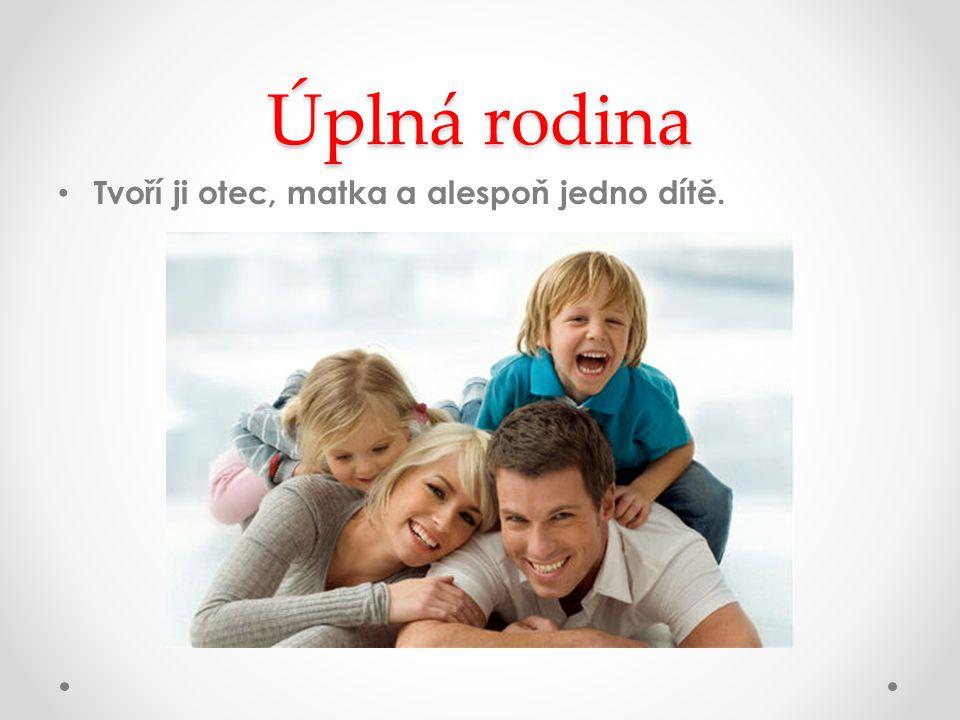 Úplná rodina Tvoří ji otec, matka a alespoň jedno dítě.
