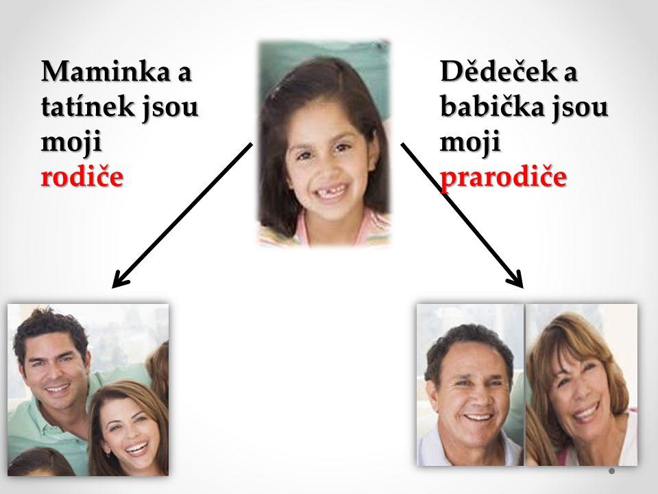 Maminka a tatínek jsou moji rodiče Dědeček a babička jsou moji prarodiče