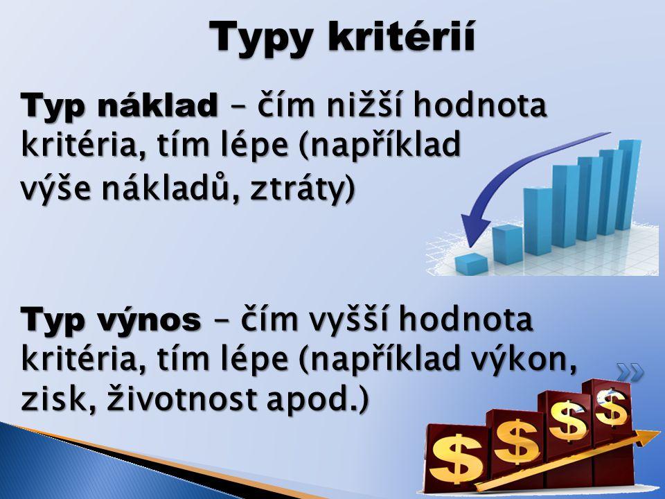 Typ náklad – čím nižší hodnota kritéria, tím lépe (například výše nákladů, ztráty) Typ výnos – čím vyšší hodnota kritéria, tím lépe (například výkon, zisk, životnost apod.) Typy kritérií