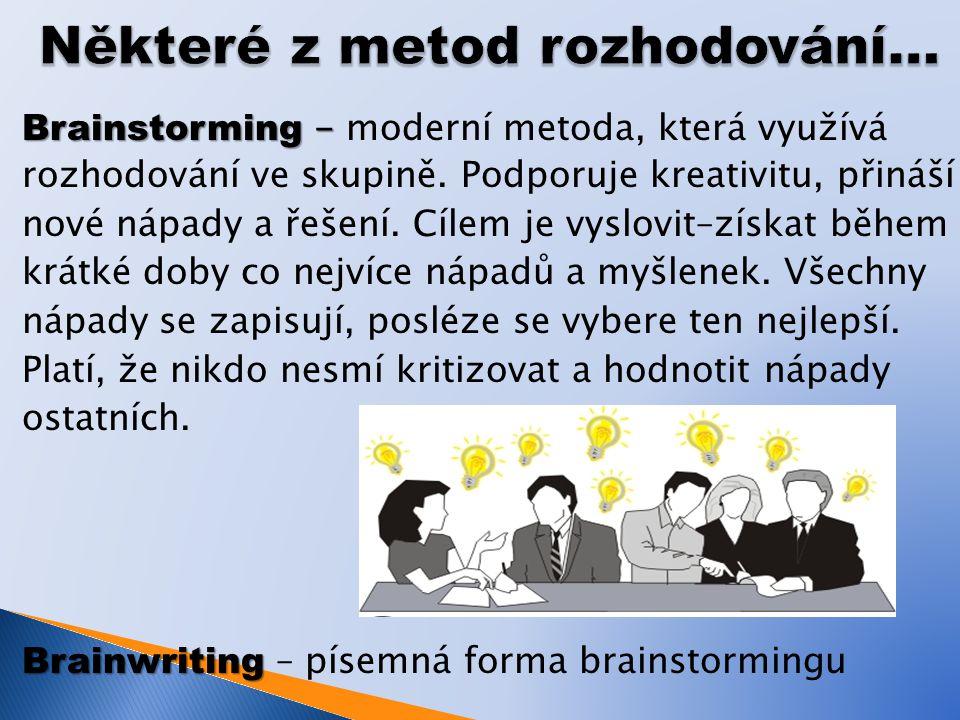 Brainstorming - Brainstorming - moderní metoda, která využívá rozhodování ve skupině.