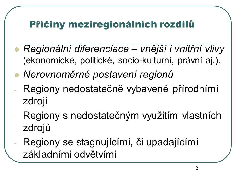Příčiny meziregionálních rozdílů Regionální diferenciace – vnější i vnitřní vlivy (ekonomické, politické, socio-kulturní, právní aj.). Nerovnoměrné po