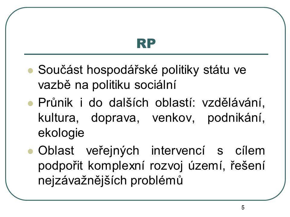 RP Součást hospodářské politiky státu ve vazbě na politiku sociální Průnik i do dalších oblastí: vzdělávání, kultura, doprava, venkov, podnikání, ekol
