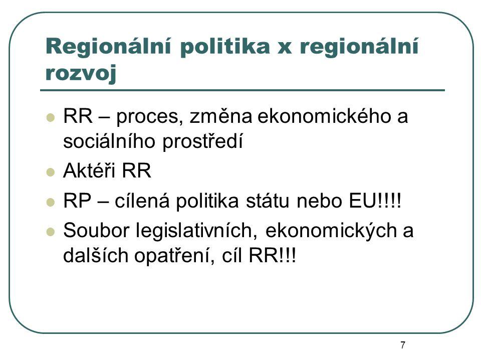 Regionální politika x regionální rozvoj RR – proces, změna ekonomického a sociálního prostředí Aktéři RR RP – cílená politika státu nebo EU!!!! Soubor