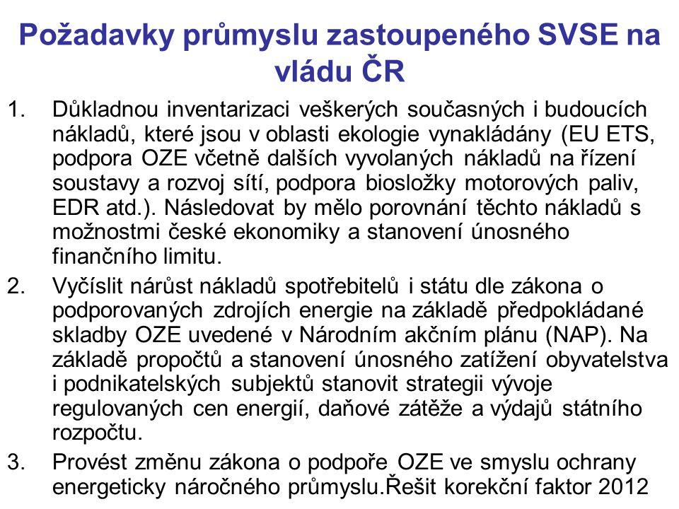 Požadavky průmyslu zastoupeného SVSE na vládu ČR 1.Důkladnou inventarizaci veškerých současných i budoucích nákladů, které jsou v oblasti ekologie vynakládány (EU ETS, podpora OZE včetně dalších vyvolaných nákladů na řízení soustavy a rozvoj sítí, podpora biosložky motorových paliv, EDR atd.).