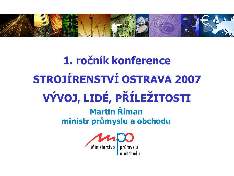 Martin Říman ministr průmyslu a obchodu 1. ročník konference STROJÍRENSTVÍ OSTRAVA 2007 VÝVOJ, LIDÉ, PŘÍLEŽITOSTI