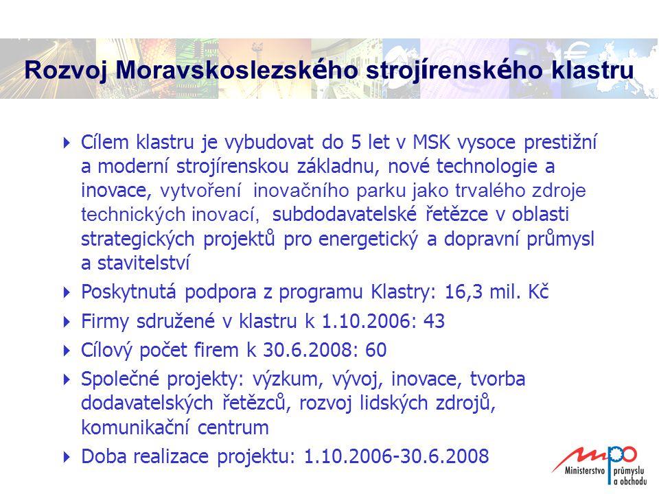 Rozvoj Moravskoslezsk é ho stroj í rensk é ho klastru  Cílem klastru je vybudovat do 5 let v MSK vysoce prestižní a moderní strojírenskou základnu, nové technologie a inovace, vytvoření inovačního parku jako trvalého zdroje technických inovací, subdodavatelské řetězce v oblasti strategických projektů pro energetický a dopravní průmysl a stavitelství  Poskytnutá podpora z programu Klastry: 16,3 mil.