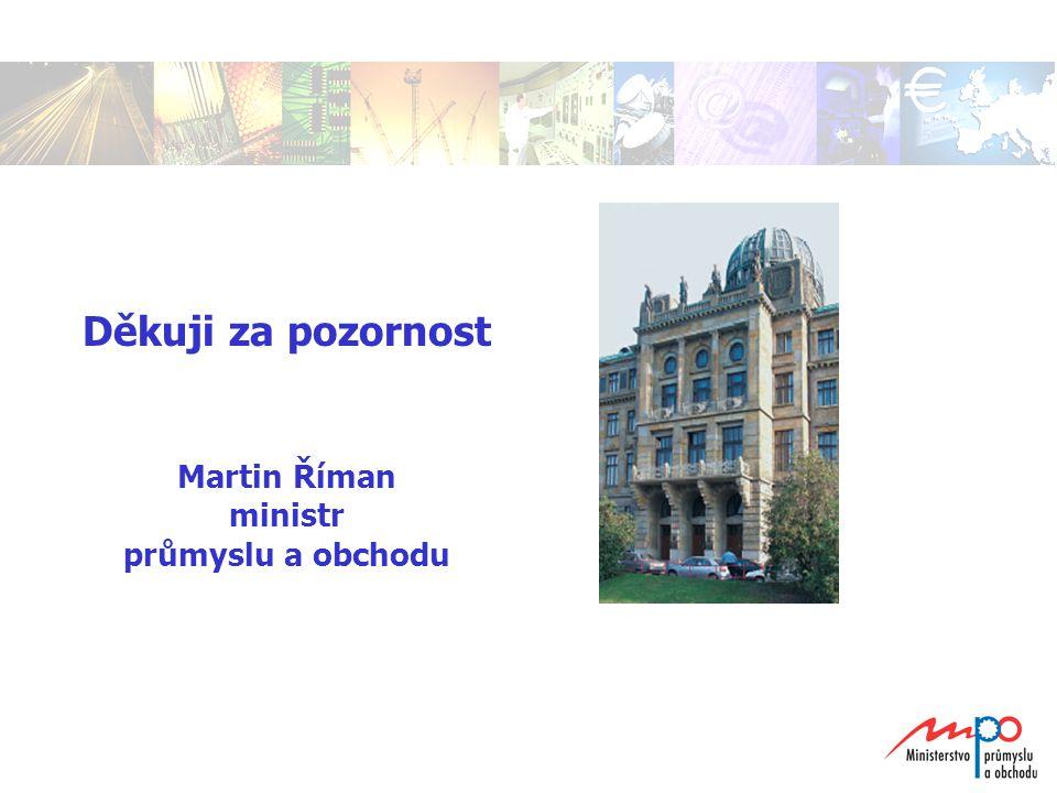 Děkuji za pozornost Martin Říman ministr průmyslu a obchodu