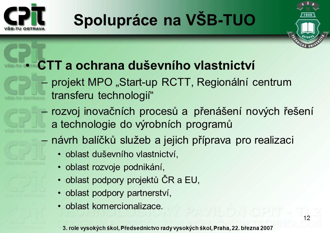 """12 Spolupráce na VŠB-TUO CTT a ochrana duševního vlastnictví –projekt MPO """"Start-up RCTT, Regionální centrum transferu technologií –rozvoj inovačních procesů a přenášení nových řešení a technologie do výrobních programů –návrh balíčků služeb a jejich příprava pro realizaci oblast duševního vlastnictví, oblast rozvoje podnikání, oblast podpory projektů ČR a EU, oblast podpory partnerství, oblast komercionalizace."""