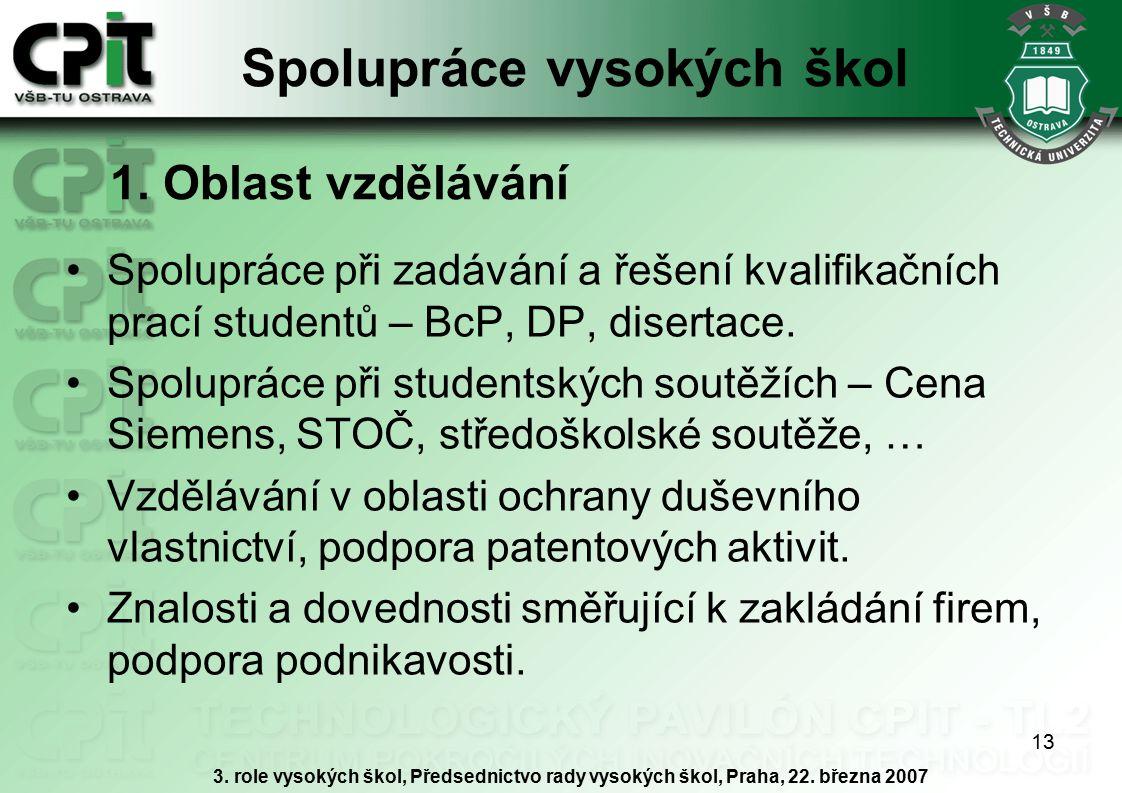 13 Spolupráce vysokých škol Spolupráce při zadávání a řešení kvalifikačních prací studentů – BcP, DP, disertace.