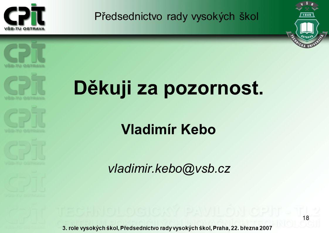 18 Děkuji za pozornost. Vladimír Kebo vladimir.kebo@vsb.cz 3. role vysokých škol, Předsednictvo rady vysokých škol, Praha, 22. března 2007 Předsednict