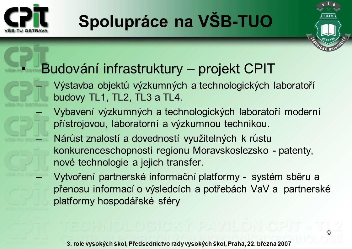 9 Spolupráce na VŠB-TUO Budování infrastruktury – projekt CPIT –Výstavba objektů výzkumných a technologických laboratoří budovy TL1, TL2, TL3 a TL4. –