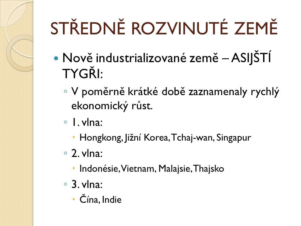 ROZVOJOVÉ ZEMĚ Velmi nízká životní úroveň.Hospodářství je založeno na zemědělské výrobě.