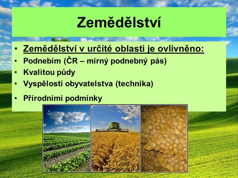 Zemědělství Zemědělství v určité oblasti je ovlivněno: Podnebím (ČR – mírný podnebný pás) Kvalitou půdy Vyspělostí obyvatelstva (technika) Přírodními
