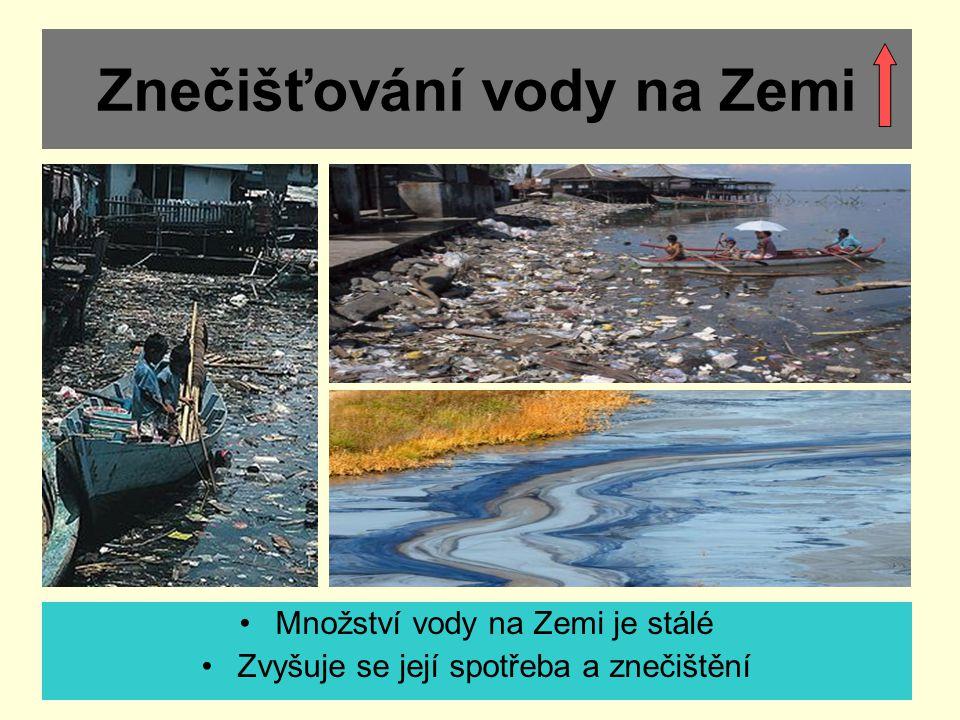 Znečišťování vody na Zemi Množství vody na Zemi je stálé Zvyšuje se její spotřeba a znečištění