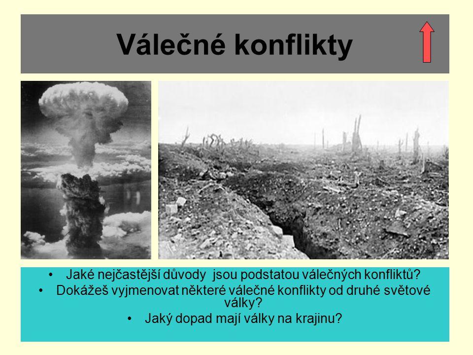 Válečné konflikty Jaké nejčastější důvody jsou podstatou válečných konfliktů? Dokážeš vyjmenovat některé válečné konflikty od druhé světové války? Jak