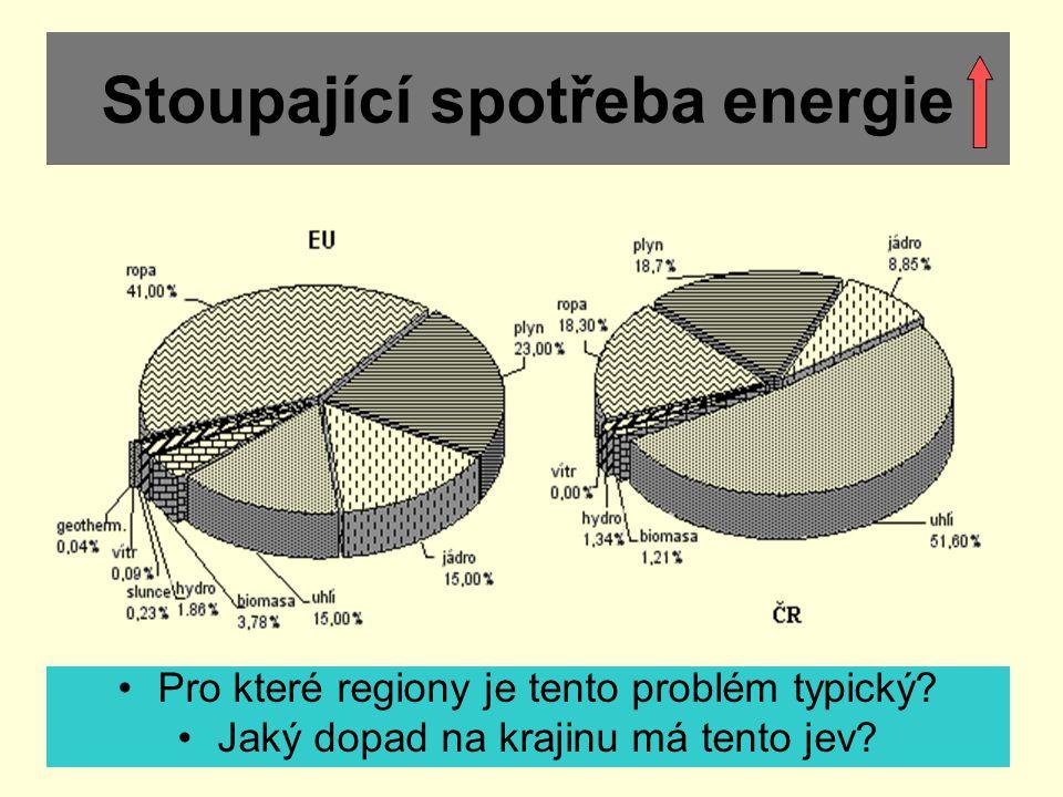 Stoupající spotřeba energie Pro které regiony je tento problém typický? Jaký dopad na krajinu má tento jev?
