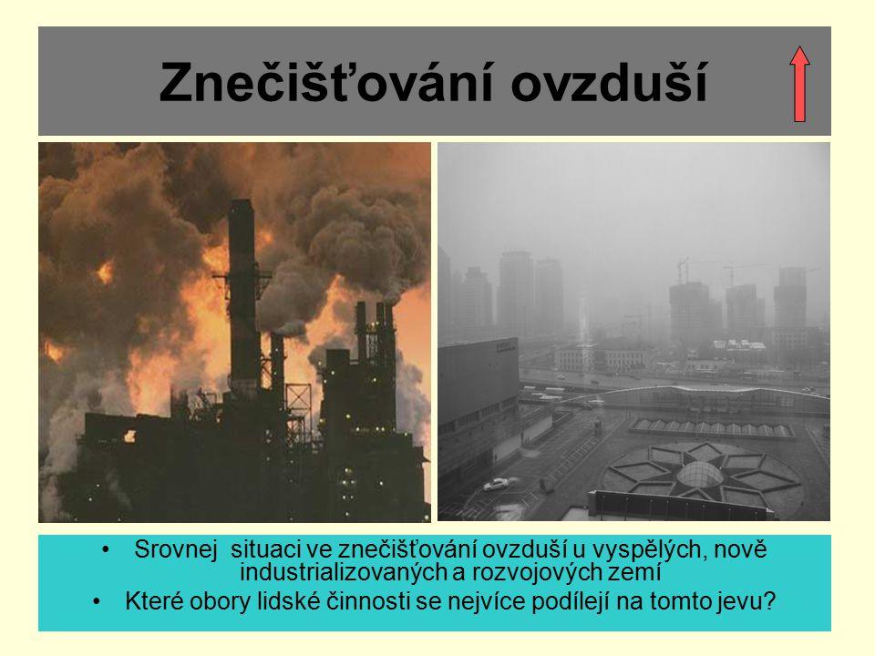 Znečišťování ovzduší Srovnej situaci ve znečišťování ovzduší u vyspělých, nově industrializovaných a rozvojových zemí Které obory lidské činnosti se n
