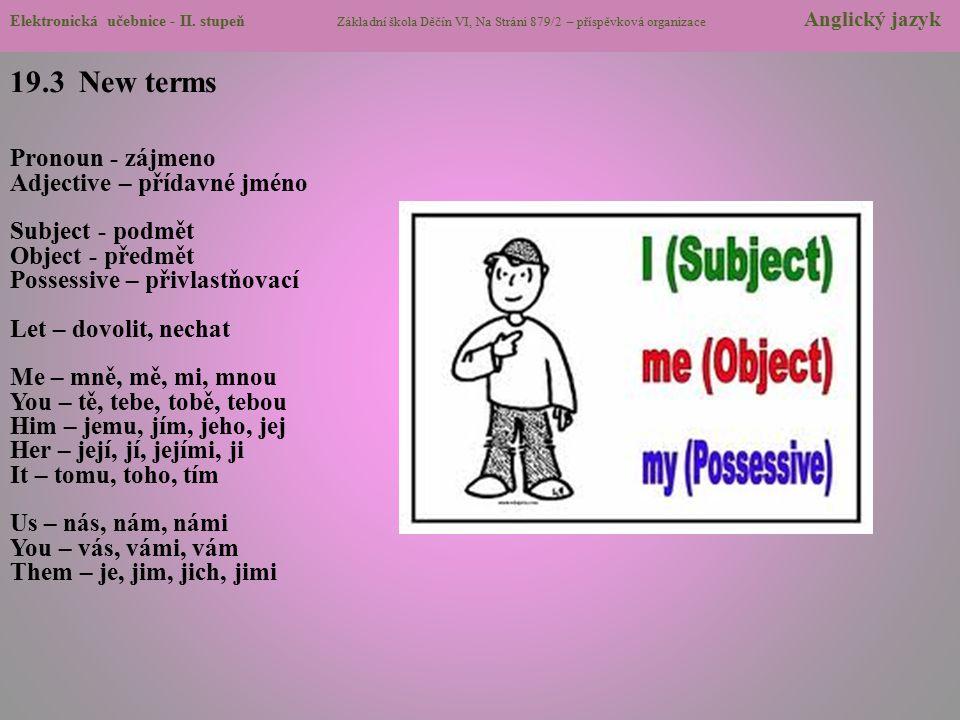 19.3 New terms Pronoun - zájmeno Adjective – přídavné jméno Subject - podmět Object - předmět Possessive – přivlastňovací Let – dovolit, nechat Me – m