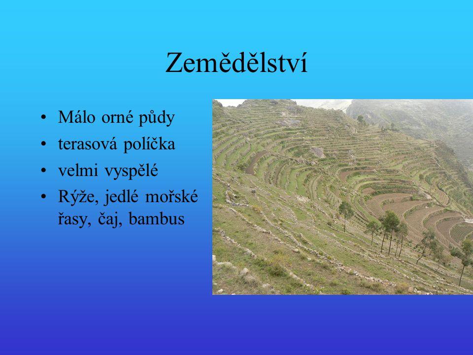 Zemědělství Málo orné půdy terasová políčka velmi vyspělé Rýže, jedlé mořské řasy, čaj, bambus