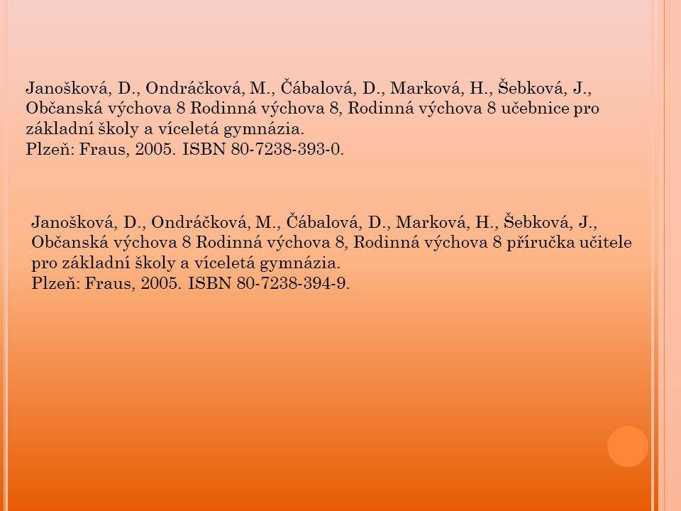 Janošková, D., Ondráčková, M., Čábalová, D., Marková, H., Šebková, J., Občanská výchova 8 Rodinná výchova 8, Rodinná výchova 8 učebnice pro základní školy a víceletá gymnázia.