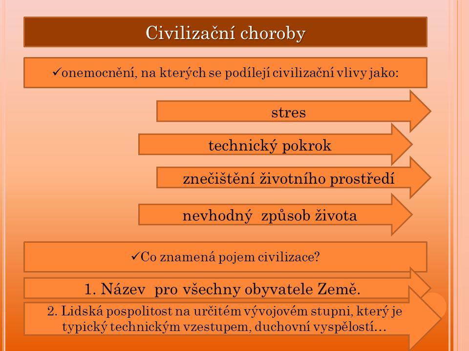 Civilizační choroby onemocnění, na kterých se podílejí civilizační vlivy jako: stres technický pokrok znečištění životního prostředí nevhodný způsob života Co znamená pojem civilizace.