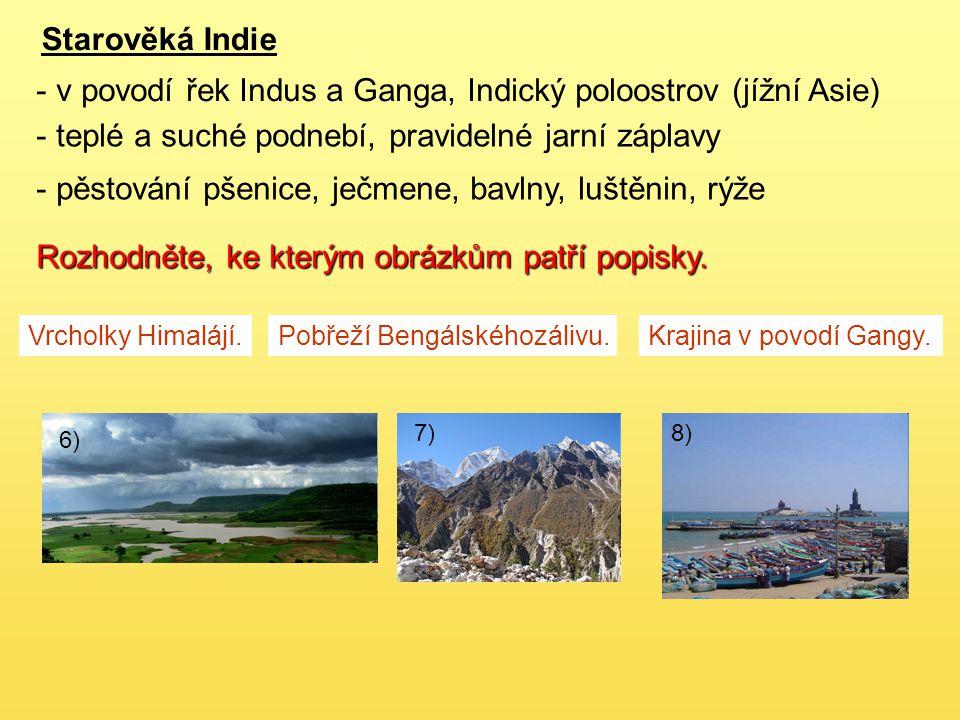 6) Starověká Indie - v povodí řek Indus a Ganga, Indický poloostrov (jížní Asie) - teplé a suché podnebí, pravidelné jarní záplavy - pěstování pšenice