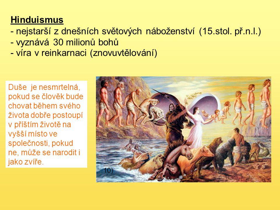Hinduismus - nejstarší z dnešních světových náboženství (15.stol. př.n.l.) - vyznává 30 milionů bohů Duše je nesmrtelná, pokud se člověk bude chovat b
