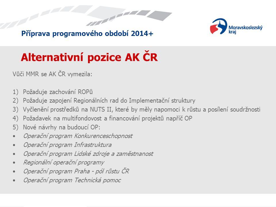 Příprava programového období 2014+ Alternativní pozice AK ČR Vůči MMR se AK ČR vymezila: 1)Požaduje zachování ROPů 2)Požaduje zapojení Regionálních ra