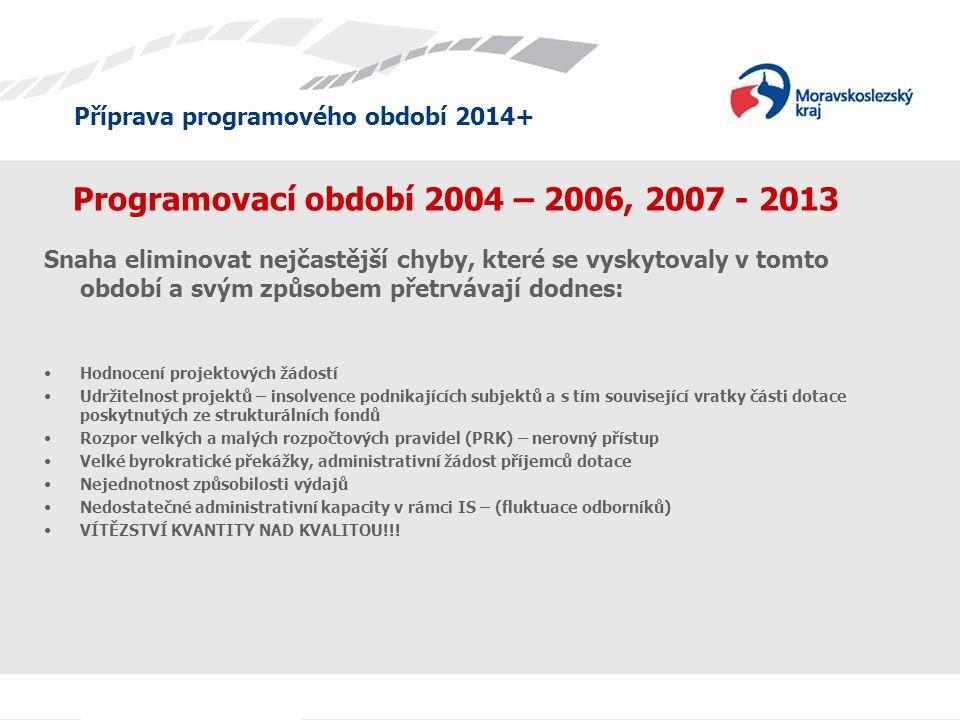 Příprava programového období 2014+ Programovací období 2004 – 2006, 2007 - 2013 Snaha eliminovat nejčastější chyby, které se vyskytovaly v tomto obdob