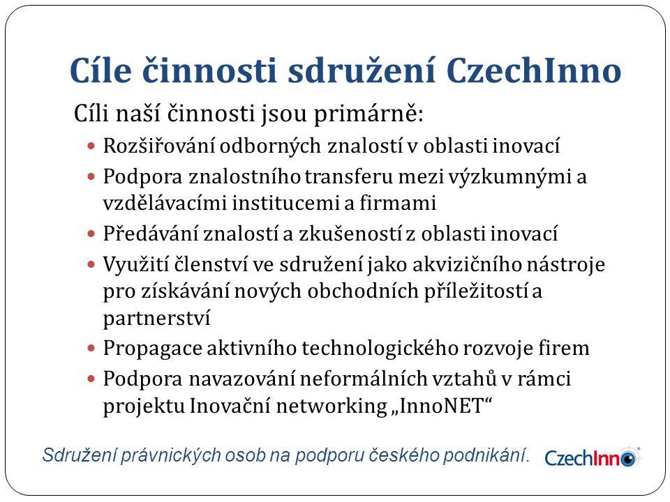 Cíle činnosti sdružení CzechInno Cíli naší činnosti jsou primárně: Rozšiřování odborných znalostí v oblasti inovací Podpora znalostního transferu mezi