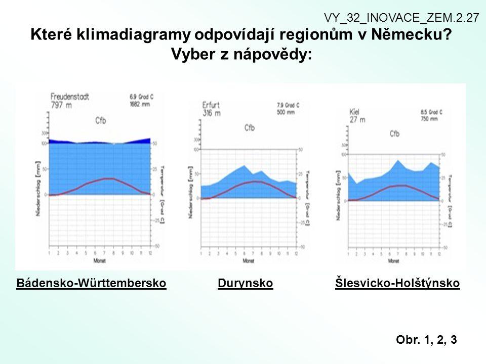Které klimadiagramy odpovídají regionům v Německu? Vyber z nápovědy: VY_32_INOVACE_ZEM.2.27 Bádensko-WürttemberskoDurynskoŠlesvicko-Holštýnsko Obr. 1,