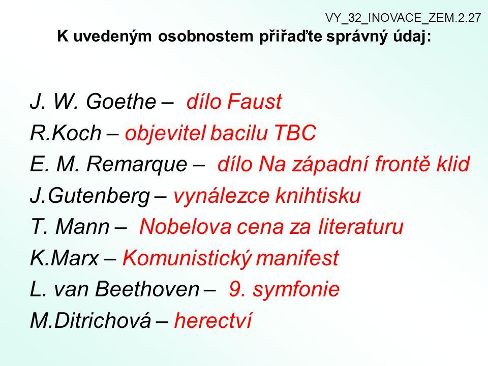 K uvedeným osobnostem přiřaďte správný údaj: J. W. Goethe – dílo Faust R.Koch – objevitel bacilu TBC E. M. Remarque – dílo Na západní frontě klid J.Gu