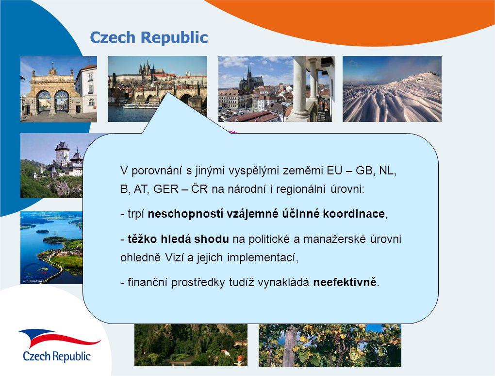 Czech Republic V porovnání s jinými vyspělými zeměmi EU – GB, NL, B, AT, GER – ČR na národní i regionální úrovni: - trpí neschopností vzájemné účinné koordinace, - těžko hledá shodu na politické a manažerské úrovni ohledně Vizí a jejich implementací, - finanční prostředky tudíž vynakládá neefektivně.