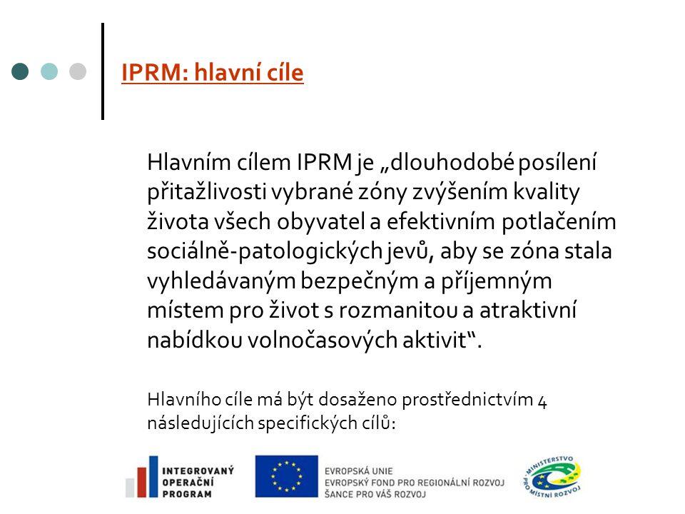 """IPRM: hlavní cíle Hlavním cílem IPRM je """"dlouhodobé posílení přitažlivosti vybrané zóny zvýšením kvality života všech obyvatel a efektivním potlačením sociálně-patologických jevů, aby se zóna stala vyhledávaným bezpečným a příjemným místem pro život s rozmanitou a atraktivní nabídkou volnočasových aktivit ."""