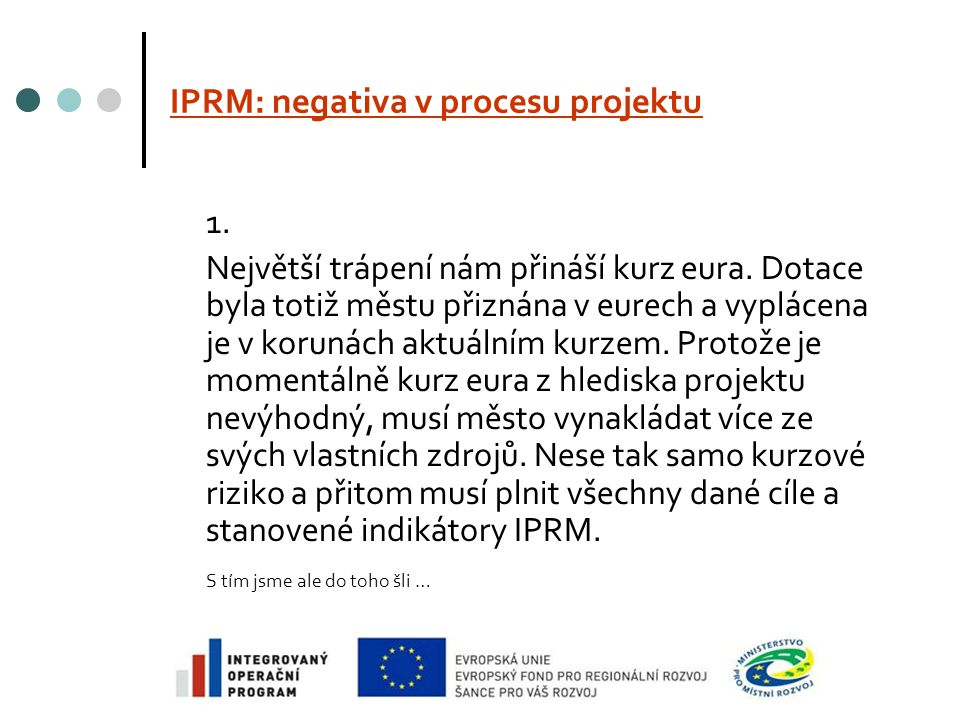 IPRM: negativa v procesu projektu 1. Největší trápení nám přináší kurz eura.