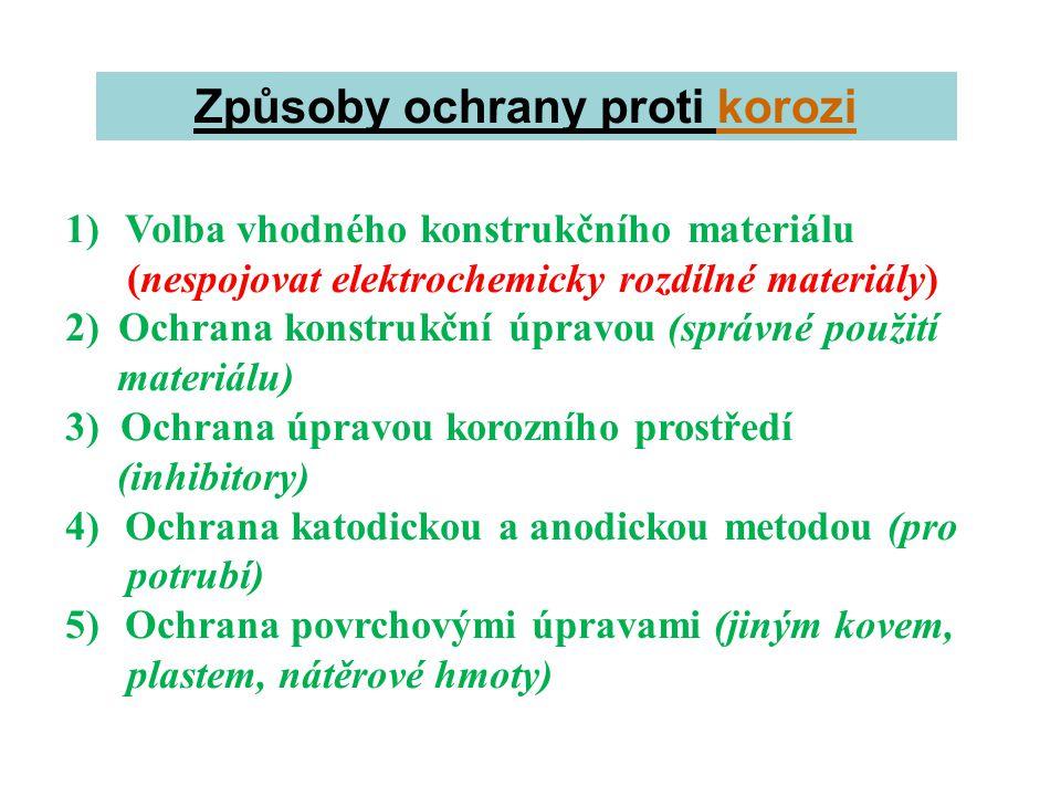 Způsoby ochrany proti korozi 1)Volba vhodného konstrukčního materiálu (nespojovat elektrochemicky rozdílné materiály) 2)Ochrana konstrukční úpravou (s