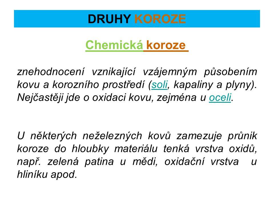 Elektrochemická koroze Elektrochemická koroze zahrnuje případy koroze kovů v elektrolytech, tedy ve vodivém prostředí.
