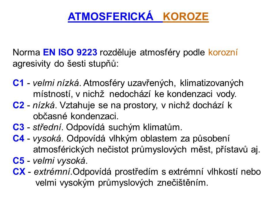 ATMOSFERICKÁ KOROZE Norma EN ISO 9223 rozděluje atmosféry podle korozní agresivity do šesti stupňů: C1 - velmi nízká. Atmosféry uzavřených, klimatizov