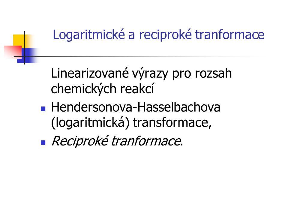 Logaritmické a reciproké tranformace Linearizované výrazy pro rozsah chemických reakcí Hendersonova-Hasselbachova (logaritmická) transformace, Recipro