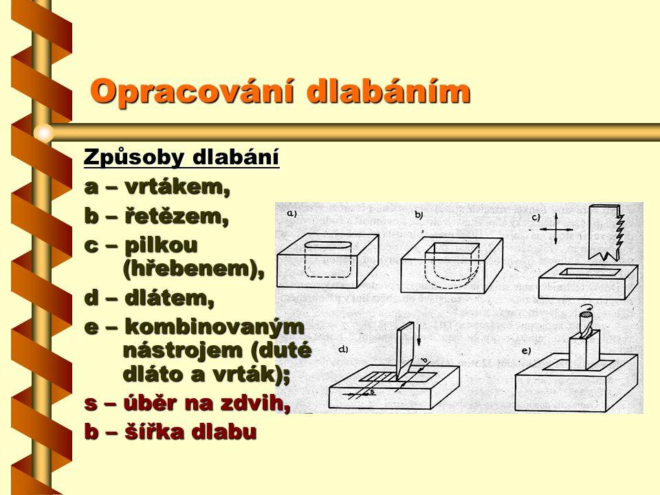 1.3.4Opracování dlabáním Strojní dlabání otvorů se používá ve výrobě nábytku při zhotovování čepovaných konstrukčních spojů. Způsoby strojního dlabání