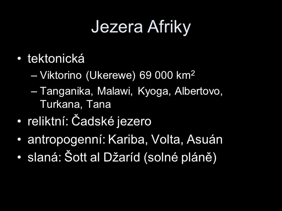 Jezera Afriky tektonická –Viktorino (Ukerewe) 69 000 km 2 –Tanganika, Malawi, Kyoga, Albertovo, Turkana, Tana reliktní: Čadské jezero antropogenní: Ka