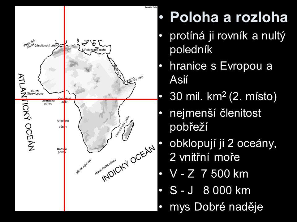 Vodstvo Afriky Řeky – tropický režim, vysychání v subtropech –Kongo 42 000 m 3 /s –Nil – Kagera, Modrý Nil průtok u Asuánu 2650 v deltě 1080 m 3 /s nilské peřeje, delta –Niger –Volta –Zambezi (Viktoriny vodopády, Kariba) –Limpopo –Orange